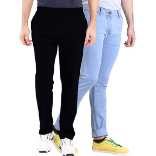 Van Galis Fashion wear Black Lower and Blue Jeans For Men Pack Of  - 2