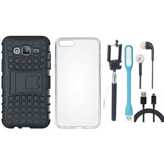 Oppo F3 Dual Protection Defender Back Case with Silicon Back Cover, Selfie Stick, Earphones, USB LED Light and USB Cable
