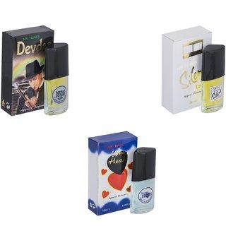 Skyedventures Set of 3   Devdas-Silent Love-Younge Heart Blue Perfume
