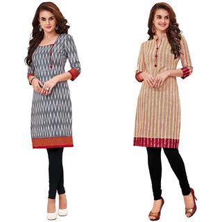 HRINKAR Grey and Red Cotton Readymade women kurti formal - HRMKRCMB0003-L