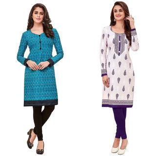 HRINKAR Light Blue and Multicolor Cotton Readymade women kurti formal - HRMKRCMB0198-L