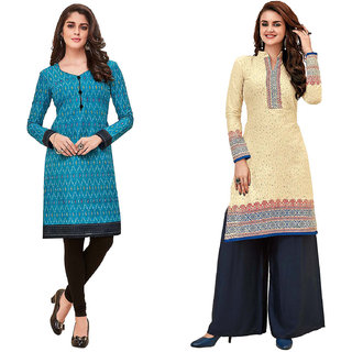 HRINKAR Light Blue and Multicolor Cotton Readymade kurties fancy for women - HRMKRCMB0202-L