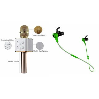 Zemini Q7 Microphone and Reflect Earphone Headset for HTC DESIRE 826 DUAL SIM(Q7 Mic and Karoke with bluetooth speaker   Reflect Earphone Headset )