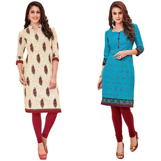 HRINKAR Multicolor and Yellow Cotton Readymade kurtis for girls - HRMKRCMB0313-L