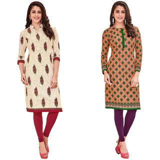 HRINKAR Multicolor and Yellow Cotton Readymade kurti cotton round neck - HRMKRCMB0316-L