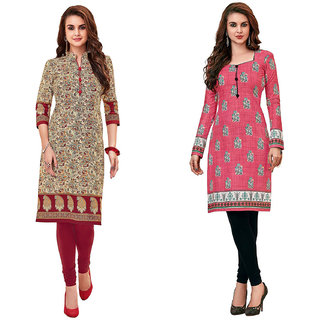 HRINKAR MulticolorRed and Yellow Cotton Readymade kurtis for girls - HRMKRCMB0339-L