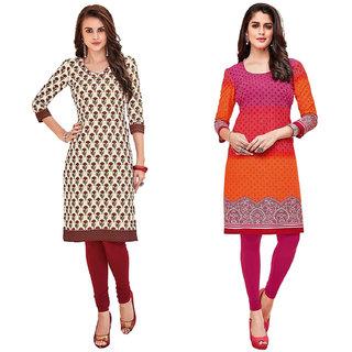 HRINKAR MulticolorRedandYellow Cotton Readymade kurtis for women - HRMKRCMB0400-L
