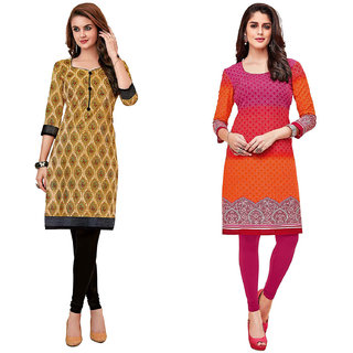 HRINKAR Multicolor and Yellow Cotton Readymade kurti for women cotton - HRMKRCMB0357-L