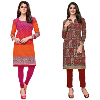 HRINKAR OrangeRedandPink Cotton Readymade women cotton kurti - HRMKRCMB0429-L