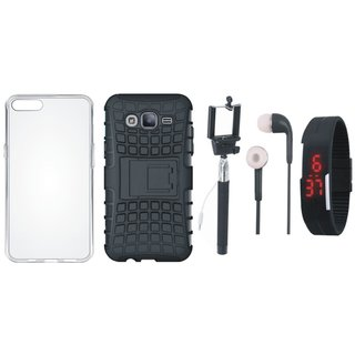 Oppo F3 Defender Back Cover with Kick Stand with Silicon Back Cover, Selfie Stick, Digtal Watch and Earphones