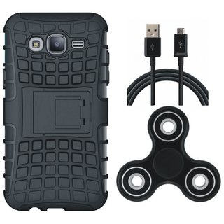 Oppo F3 Defender Back Cover with Kick Stand with Spinner, USB Cable