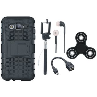 Oppo F3 Defender Back Cover with Kick Stand with Spinner, Selfie Stick, Earphones and OTG Cable