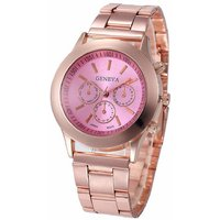 Geneva Small Pink Dial Rose Gold Metal Analog Watch For