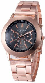 Geneva Small Black Dial Rose Gold Metal Analog Watch Fo