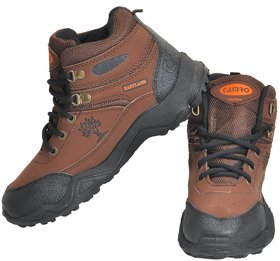 Camro Men's Brown & Black Stylish Synthetic Hiking & Running Outdoor Shoes