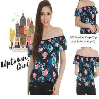 81bdd3c1babdbe Uptown Girl Flower Print Off Shoulder Frill Stylish Top By KLICK2STYLE