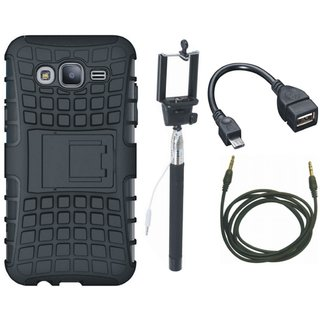 Oppo F3 Shockproof Tough Defender Cover with Selfie Stick, OTG Cable and AUX Cable