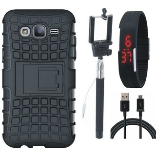 Oppo F3 Shockproof Tough Defender Cover with Selfie Stick, Digtal Watch and USB Cable