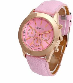 Geneva Small Pink Dial Faux Leather Strap Analog Watch For Women, Girls