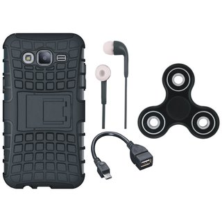 Oppo F3 Shockproof Tough Defender Cover with Spinner, Earphones and OTG Cable