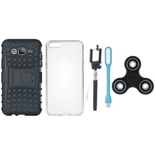 Oppo F3 Shockproof Tough Defender Cover with Spinner, Silicon Back Cover, Selfie Stick and USB LED Light