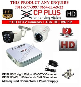 CP PLUS 2 HD CCTV Cameras (1.3 MP) With 4Ch. HD DVR Kit