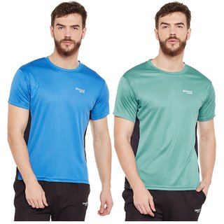 836c9a84c1a910 Buy Masch Sports Mens Polyester Solid T-Shirts - Pack of 2 (Blue   Green)  Online - Get 63% Off