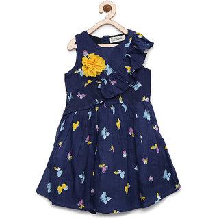 Bella Moda Girls Blue Printed Fit & Flare Dress