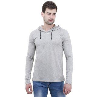 Lime Cotton Full Sleeve Hooded T Shirt For Men