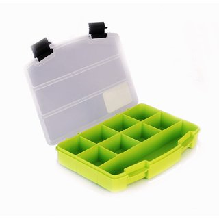 Clear Transparent Plastic Toolbox  Organizer Case with 9 Compartments  2 Clip Locks with Lid