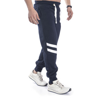 Urban Diseno Navy Blue Jogger With White Stripes  For Mens