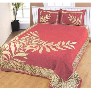 The Intellect Bazaar 500 TC Velvet Bedcover With 2 Pillow Covers,Pink