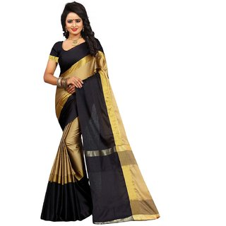 Bhuwal Fashion Exclusive beige Cotton Silk Sari with Blouse--BF396