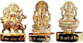 Gold Plated Ganesh Laxmi Durga Idol - 2.9 Inches