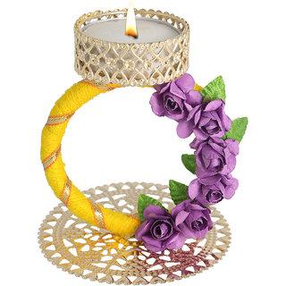 Splendid Indian Art Handmade Gold Plated Beautiful Golden Gota Work Tea-Light Candle Stand (Holder)