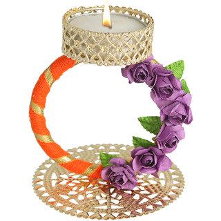 Splendid Indian Art Handmade Gold Plated Gorgeous Golden Gota Work Tea-Light Candle Stand (Holder)