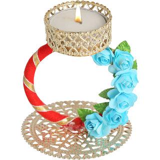 Splendid Indian Art Handmade Gold Plated Attractive Golden Gota Work Tea-Light Candle Stand (Holder)