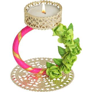 Splendid Indian Art Handmade Gold Plated Graceful Golden Gota Work Tea-Light Candle Stand (Holder)