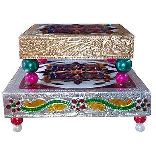 Decorative Meenakari for Puja (3  4 inches)- Small Chowki for idols - Set of 2