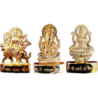 Gold Plated Ganesh Laxmi Durga Idol - 2.9 Inches