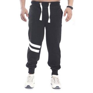 Urban Diseno Black Jogger With White Stripes  For Mens