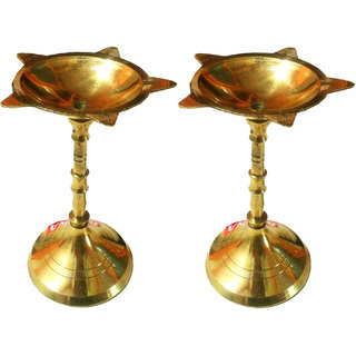 Pure Brass Center Long Pooja Diya - Set of 2
