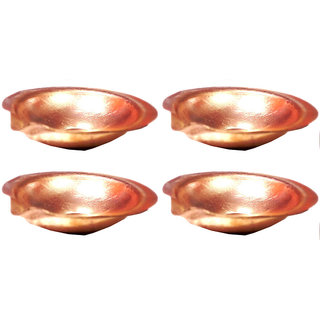 6 cm Pure Copper Diya - Set of 4