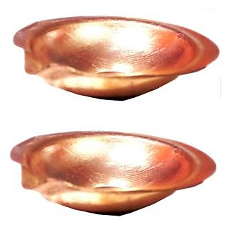 Set of 2 Goldcave 6 cm Pure Copper Brass Gold Diya