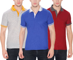 Pack of 3-Men's Polo T-Shirt by Baremoda (Grey Blue & Maroon)