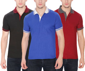 Pack of 3 Men's Polo Collar T Shirt Combo by Baremoda (Black Blue & Maroon)