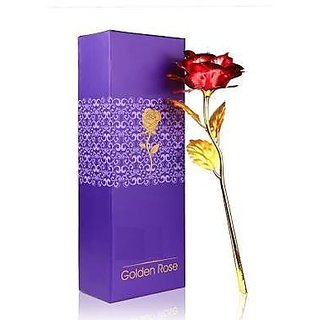 24K Red  Golden Rose With Gift Box And a Nice Carry Bag - Best Gift to Express love on Valentine's Day
