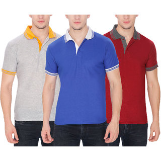 Pack of 3 Men Cotton Blend Polo T-Shirt By Baremoda (Grey Blue  Maroon)