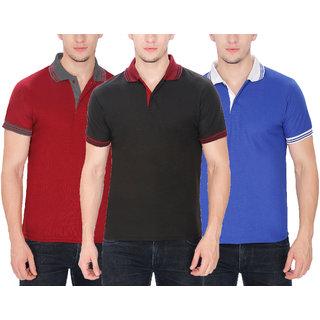 Buy Baremoda Men s Polo T Shirt Black Maroon Blue Combo Pack of 3 ... d268c9173f4