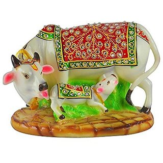 Agarwal Trading Corporation Dust 6 inch Meenakari Work Cow With Calf For Home Office Place Utility Decoration
